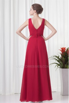 A-Line V-Neck Pleats Sleeveless Floor-Length Chiffon Mother of the Bride Dresses 2040193