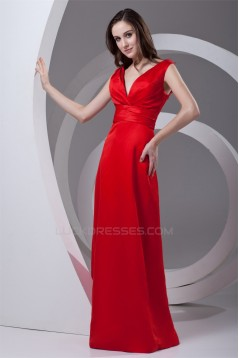 Sleeveless Sheath/Column V-Neck Pleats Satin Floor-Length Mother of the Bride Dresses 2040196