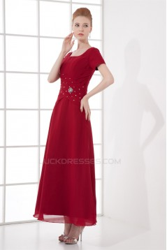 A-Line Chiffon Square Beading Ankle-Length Mother of the Bride Dresses 2040199