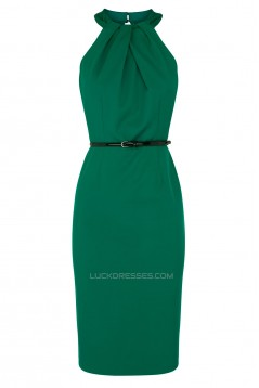 Sheath Knee-Length Short Green Mother of the Bride Dresses Without Belt 2040204