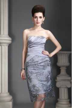 Elegant Knee-Length Silver Mother of the Bride Dresses with A Jacket 2040210
