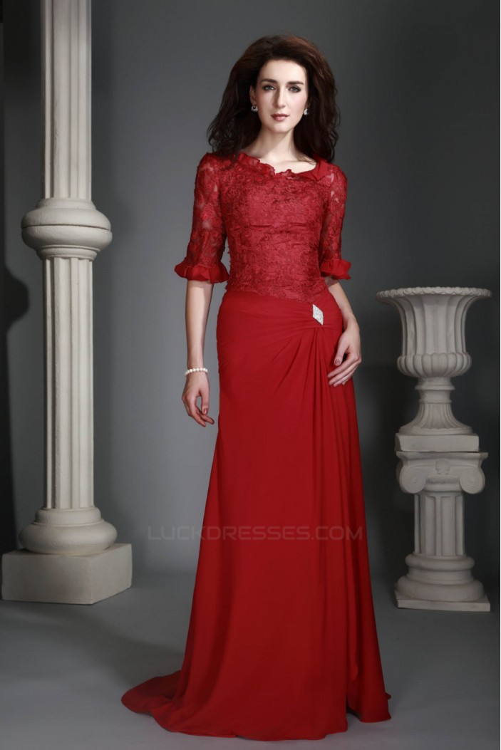 Sheath/Column Lace Chiffon Long Mother of the Bride Dresses 2040217