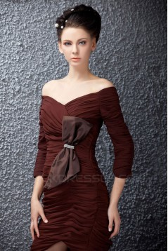 Short/Mini Pleated 3/4 Sleeve V-Neck Mother of the Bride Dresses 2040219