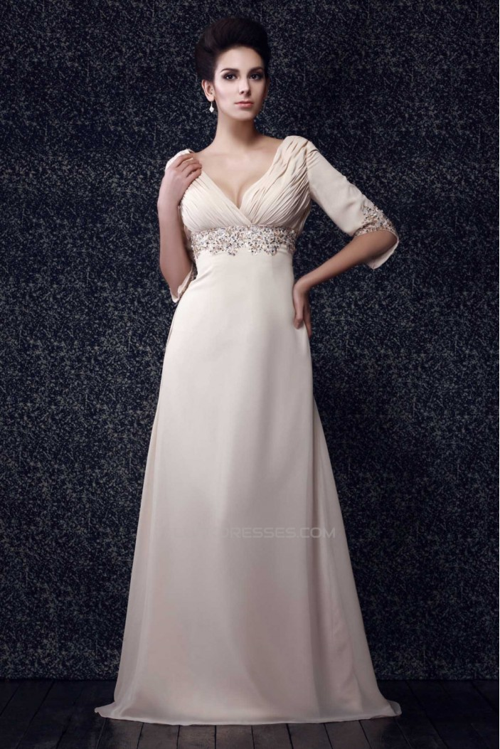 A-Line V-Neck Beaded Long Chiffon Mother of the Bride Dresses 2040220