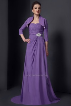 A-Line Sweetheart Long Chiffon Mother of the Bride Dresses with A 3/4 Sleeve Jacket 2040221