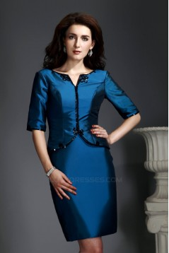 Short Mother of the Bride Dresses with A Half Sleeve Jacket 2040223