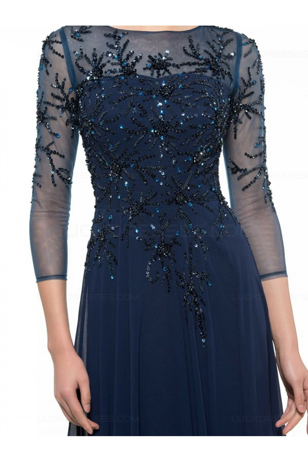 Long Navy Blue 3/4 Length Sleeves Beaded Chiffon Mother of ...