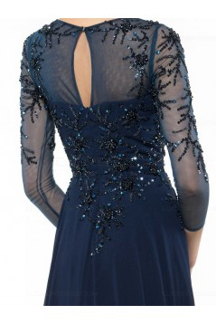 Long Navy Blue 3/4 Length Sleeves Beaded Chiffon Mother of The Bride Dresses 3040002