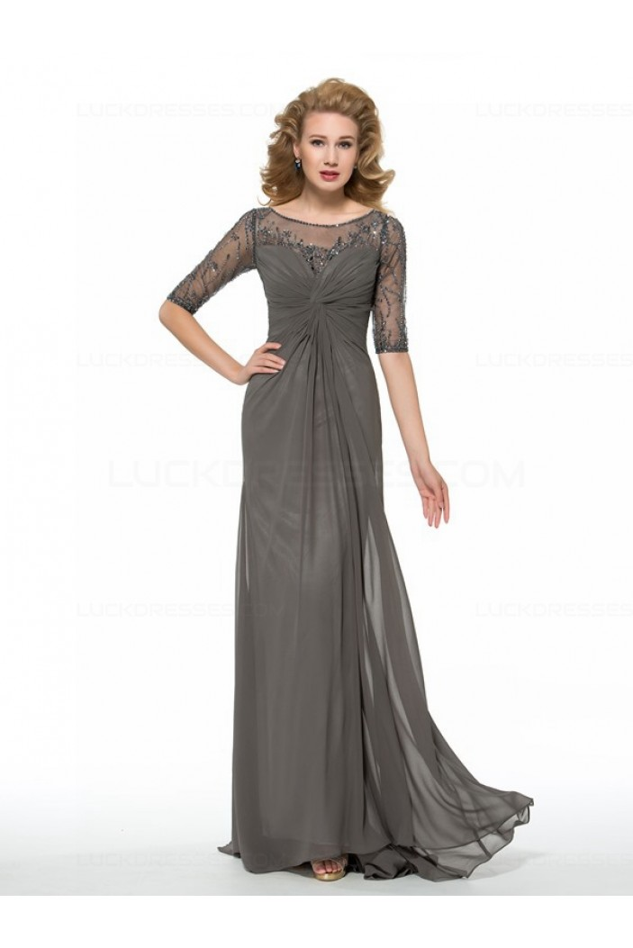 Half Sleeves Beaded Sequins Chiffon Mother of The Bride Dresses 3040004