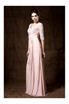 Long Pink Lace Chiffon Half Sleeves Floor Length Mother of The Bride Dresses 3040009