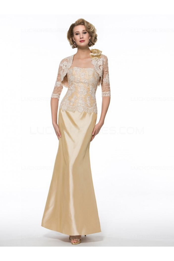 Mermaid Lace Mother of The Bride Dresses with A 3/4 Length Sleeves Jacket 3040010