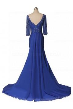 Mermaid Half Sleeves Long Blue Mother of The Bride Dresses 3040012