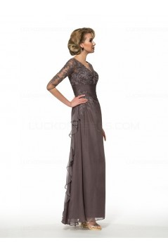 Long V-Neck Lace Chiffon 3/4 Length Sleeves Mother of The Bride Dresses 3040013