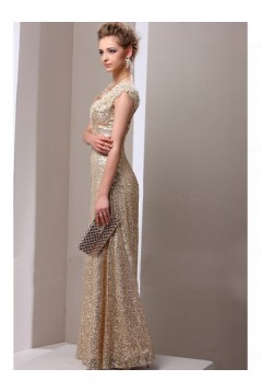 Sheath Gold Sequins Lace V-Neck Long Mother of The Bride Dresses 3040014