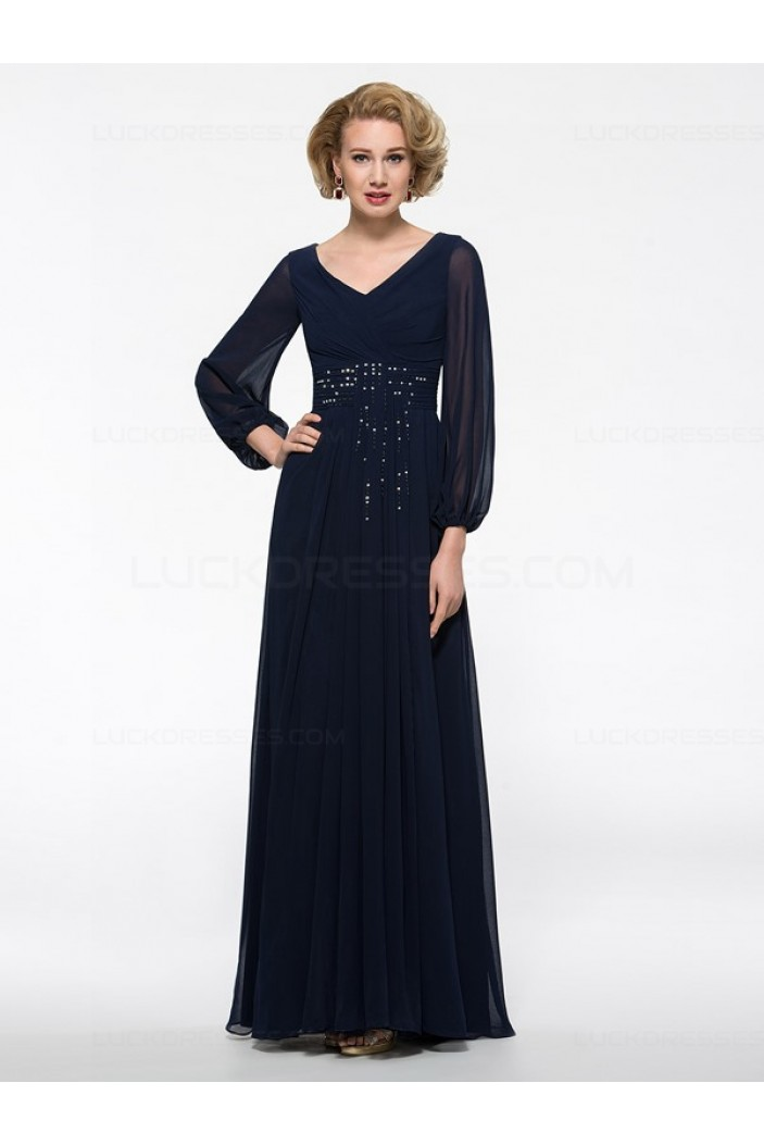 Long Sleeves V-Neck Chiffon Mother of The Bride Dresses 3040016