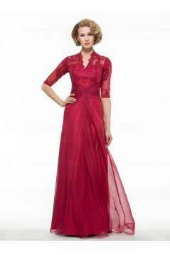 Half Sleeves Lace Chiffon Long Mother of The Bride Dresses 3040019