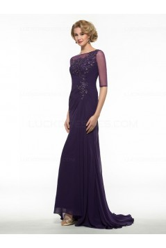 Half Sleeves Illusion Neckline Lace Chiffon Long Purple Mother of The Bride Dresses 3040020