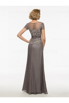 A-Line Short Sleeves Lace Chiffon V-Neck Mother of The Bride Dresses 3040021