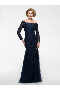 Long Sleeves Mermaid Off-the-Shoulder Lace Mother of The Bride Dresses 3040022