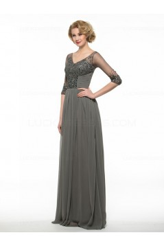 Beaded Crystal Chiffon V-Neck Long Mother of The Bride Dresses 3040023
