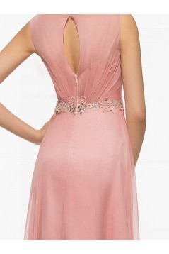 Long Pink Lace Chiffon V-Neck Mother of The Bride Dresses 3040024