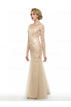 Mermaid Half Sleeves Lace Long Mother of The Bride Dresses 3040025