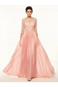 A-Line Bateau Half Sleeves Lace Chiffon Long Mother of The Bride Dresses 3040026