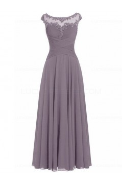 Sleeveless Illusion Neckline Lace Chiffon Long Mother of The Bride Dresses 3040027