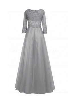 Purple 3/4 Length Sleeves Lace Chiffon Long Mother of The Bride Dresses 3040028