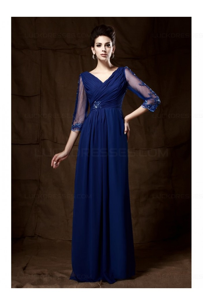 Long Blue 3/4 Length Sleeves Lace Chiffon Long Mother of The Bride Dresses 3040029