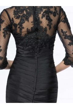 Long Black 3/4 Length Sleeves Lace Long Mother of The Bride Dresses 3040030