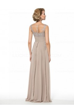 Lace Chiffon Sheer Sleeveless Long Mother of The Bride Dresses 3040032