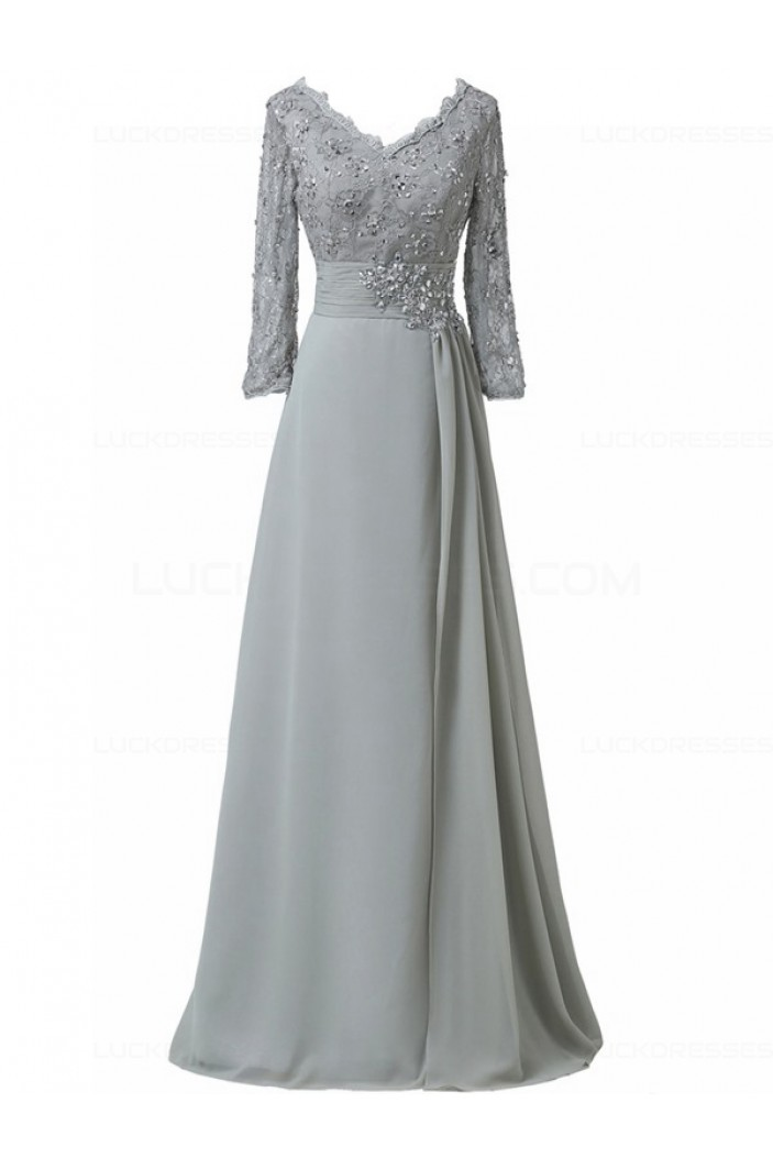 Long 3/4 Length Sleeves V-Neck Lace Chiffon Long Mother of The Bride Dresses 3040034