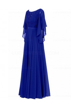 Long Purple Beaded Lace Chiffon Long Mother of The Bride Dresses 3040035