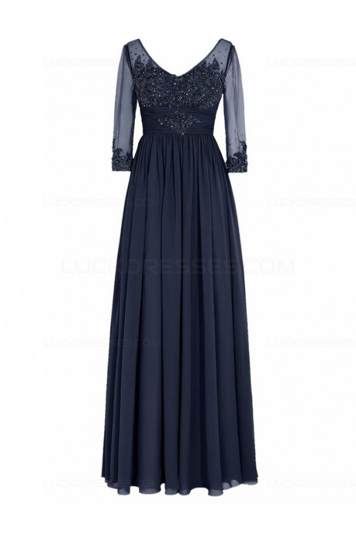 Long Navy 3/4 Length Sleeves Lace Chiffon Long Mother of The Bride Dresses 3040036