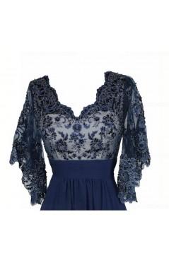 Long Blue V-Neck Lace Chiffon Long Mother of The Bride Dresses 3040037