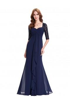 Elegant Long Blue Empire Lace Chiffon Mother of The Bride Dresses 602003