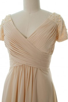 High Low V-Neck Chiffon Beaded Mother of The Bride Dresses 602009