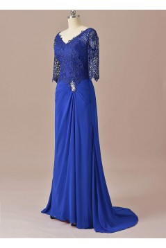 Sheath Lace Chiffon V-Neck Mother of The Bride Dresses 602010