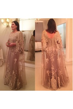 Long Lace Appliques Mother of The Bride Dresses Mother of The Groom Dresses 602014