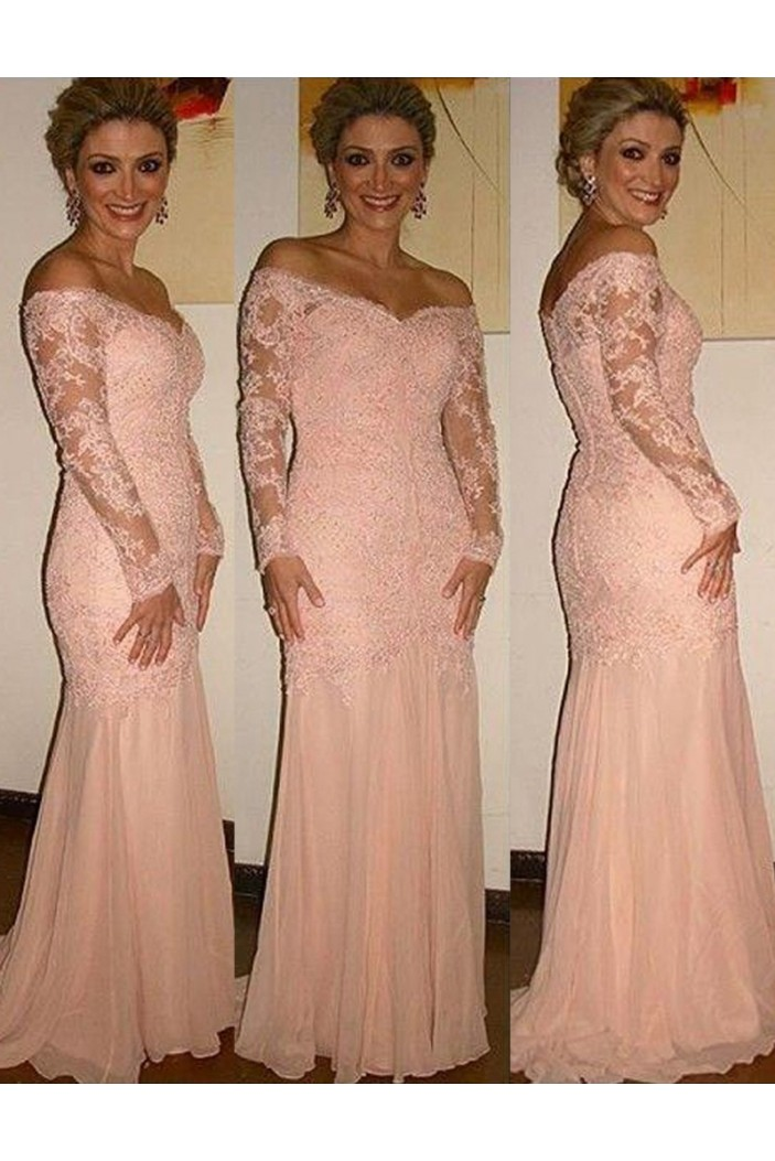Long Sleeves Off-the-Shoulder Lace Mother of The Bride and Groom Dresses 602019