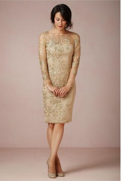 Long Sleeves Knee Length Mother of The Bride and Groom Dresses 602023