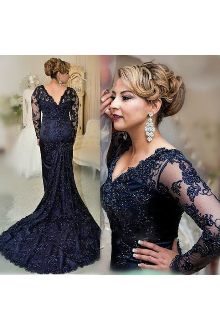 Mermaid V-Neck Lace Long Sleeves Mother of The Bride and Groom Dresses 602031