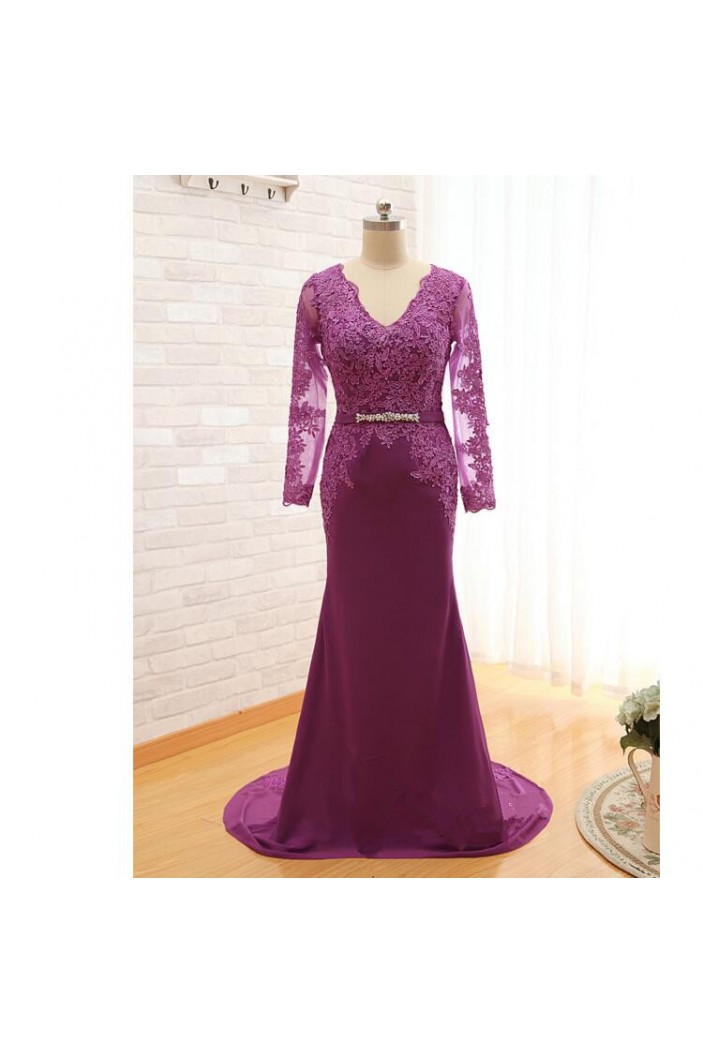 Mermaid Long Sleeves V-Neck Lace Mother of The Bride and Groom Dresses 602037