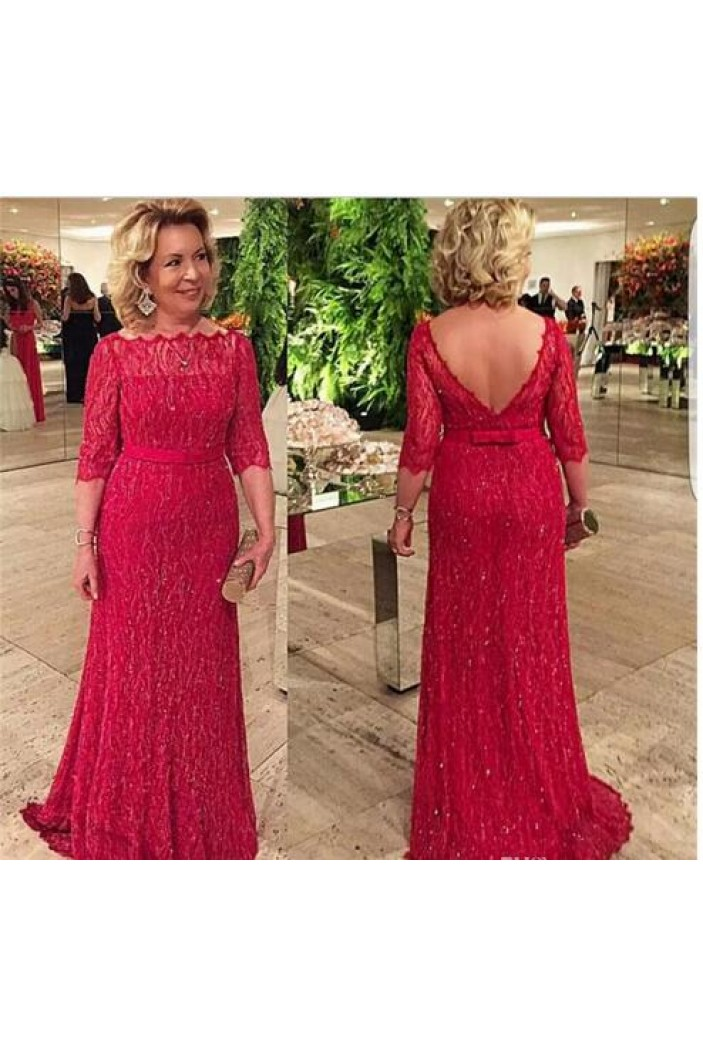 Beaded Lace Long Mother of The Bride and Groom Dresses 602044