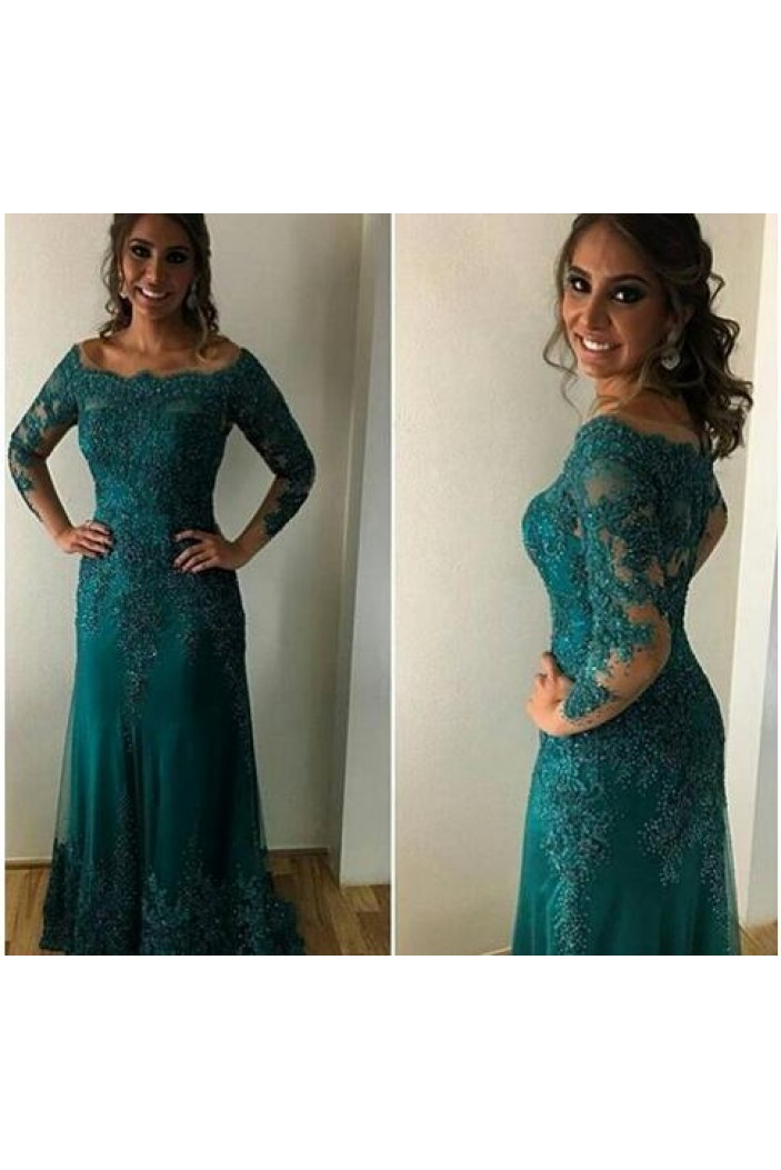 Long Sleeves Lace Appliques Mother of The Bride and Groom Dresses 602045
