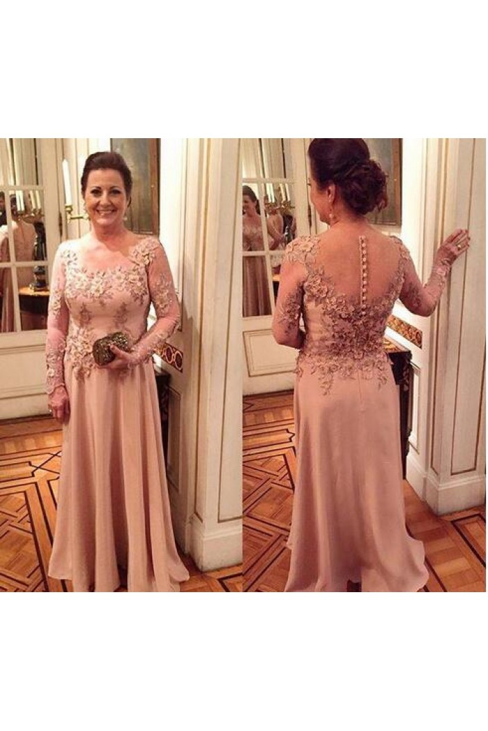 Long Sleeves Chiffon Lace Mother of The Bride and Groom Dresses 602046