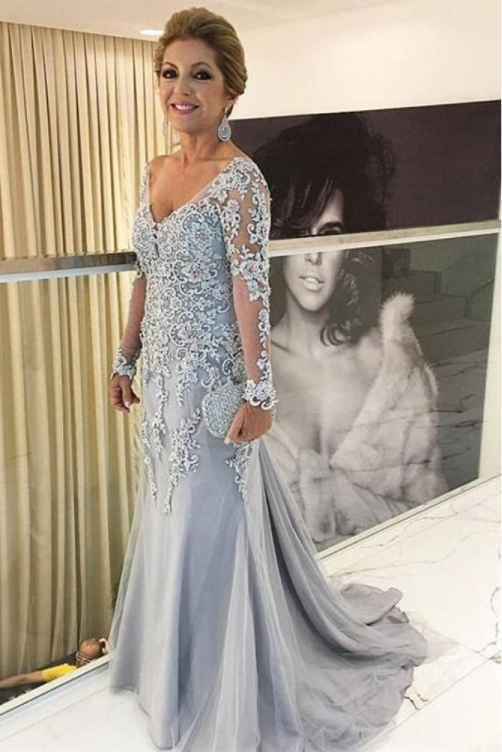 Long Sleeves V-Neck Lace Mother of The Bride Dresses 602050