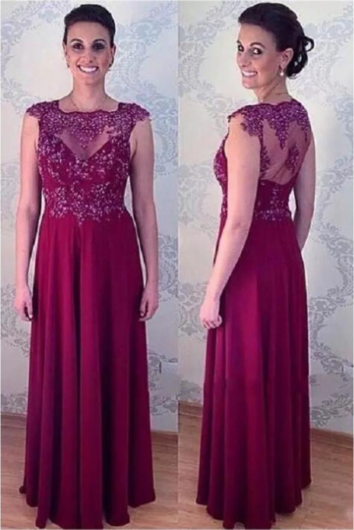 A-Line Beaded Lace Appliques Long Mother of The Bride Dresses 602058