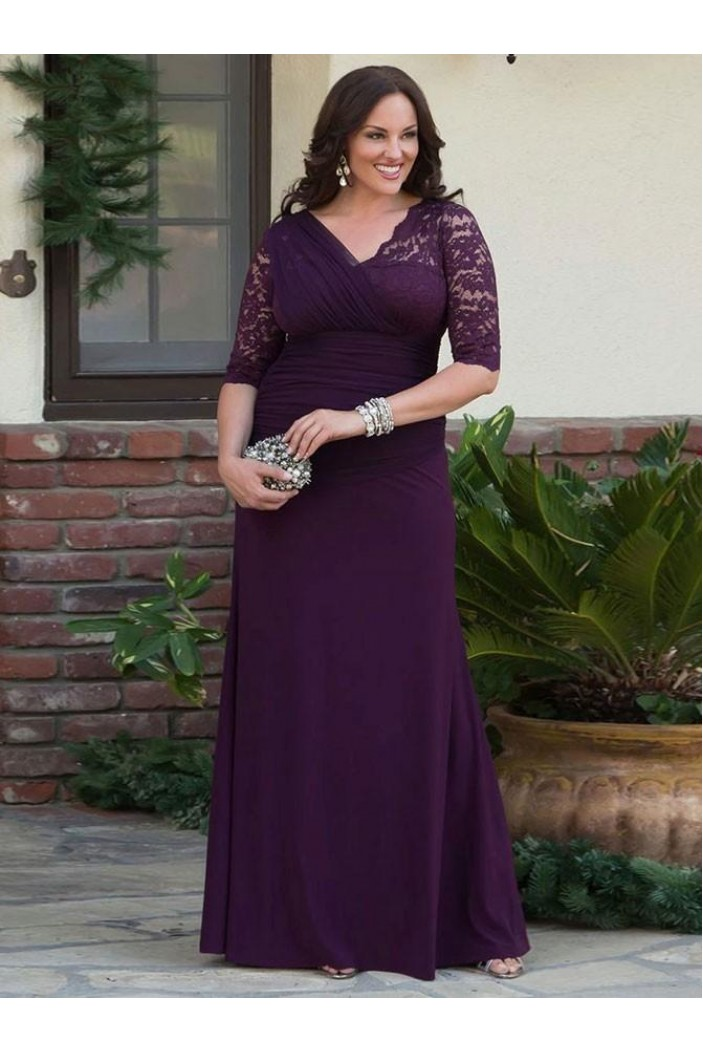 Elegant Lace Chiffon V-Neck Long Mother of The Bride Dresses 602063